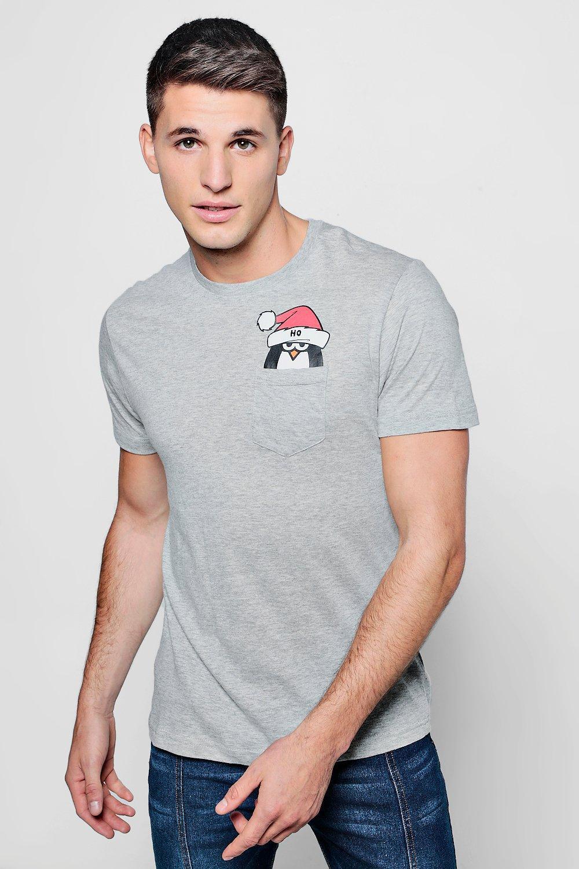 Lyst - Boohoo Christmas Pengin Pocket T-shirt in Gray for Men