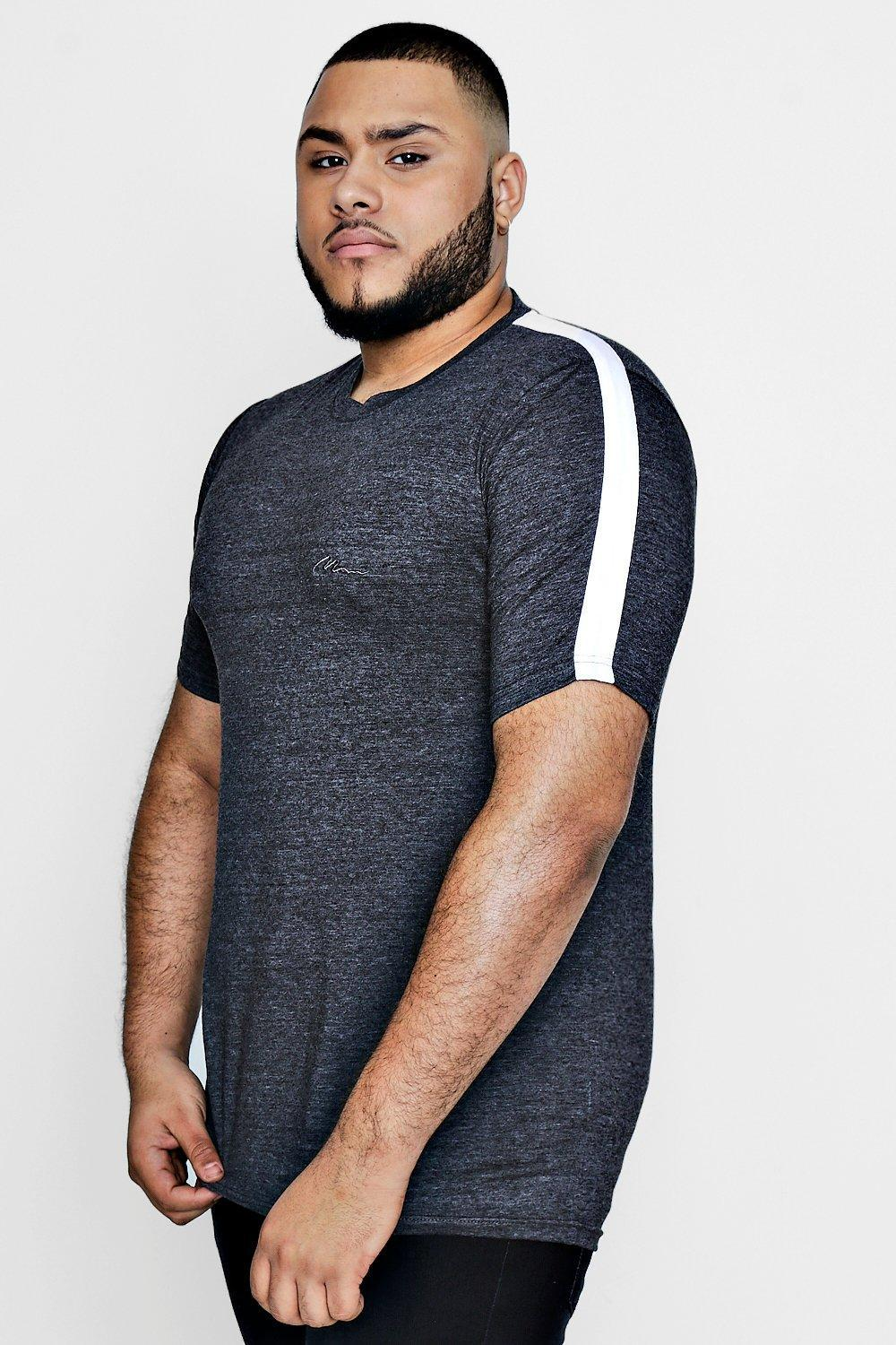 Lyst boohoo big and tall slim fit panelled t shirt in for Slim and tall shirts