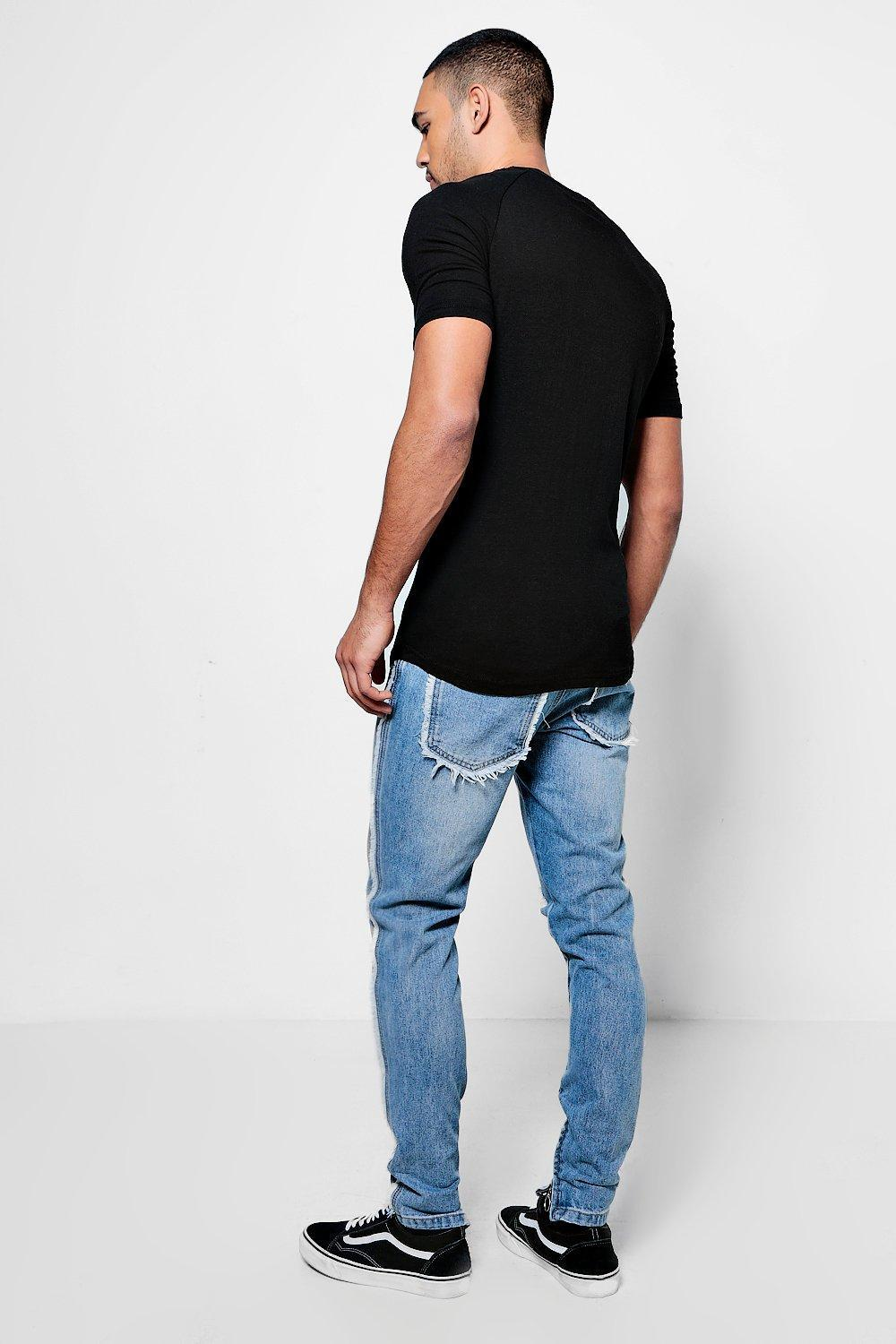 Boohoo Denim Skinny Fit Jeans With Zip Hem And Raw Seam in Vintage Wash (Blue) for Men