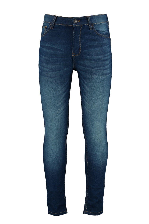 Boohoo Denim Mid Blue Spray On Skinny Jeans for Men