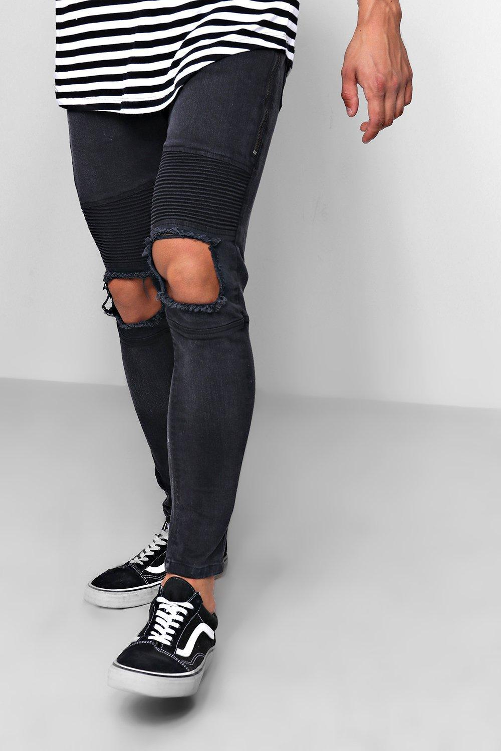 295dc07a329cb Boohoo - Black Skinny Fit Biker Jeans With Ripped Knee for Men - Lyst. View  fullscreen