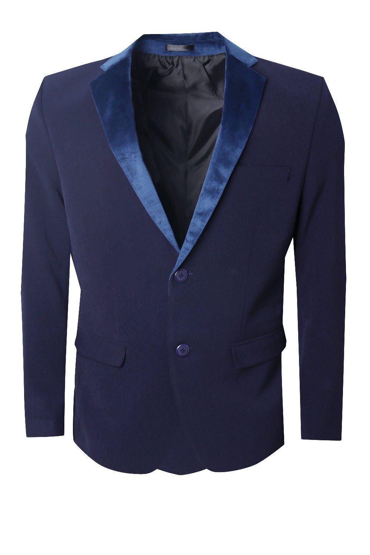 Boohoo Skinny Fit Suit Jacket With Velvet Lapel in Navy (Blue) for Men