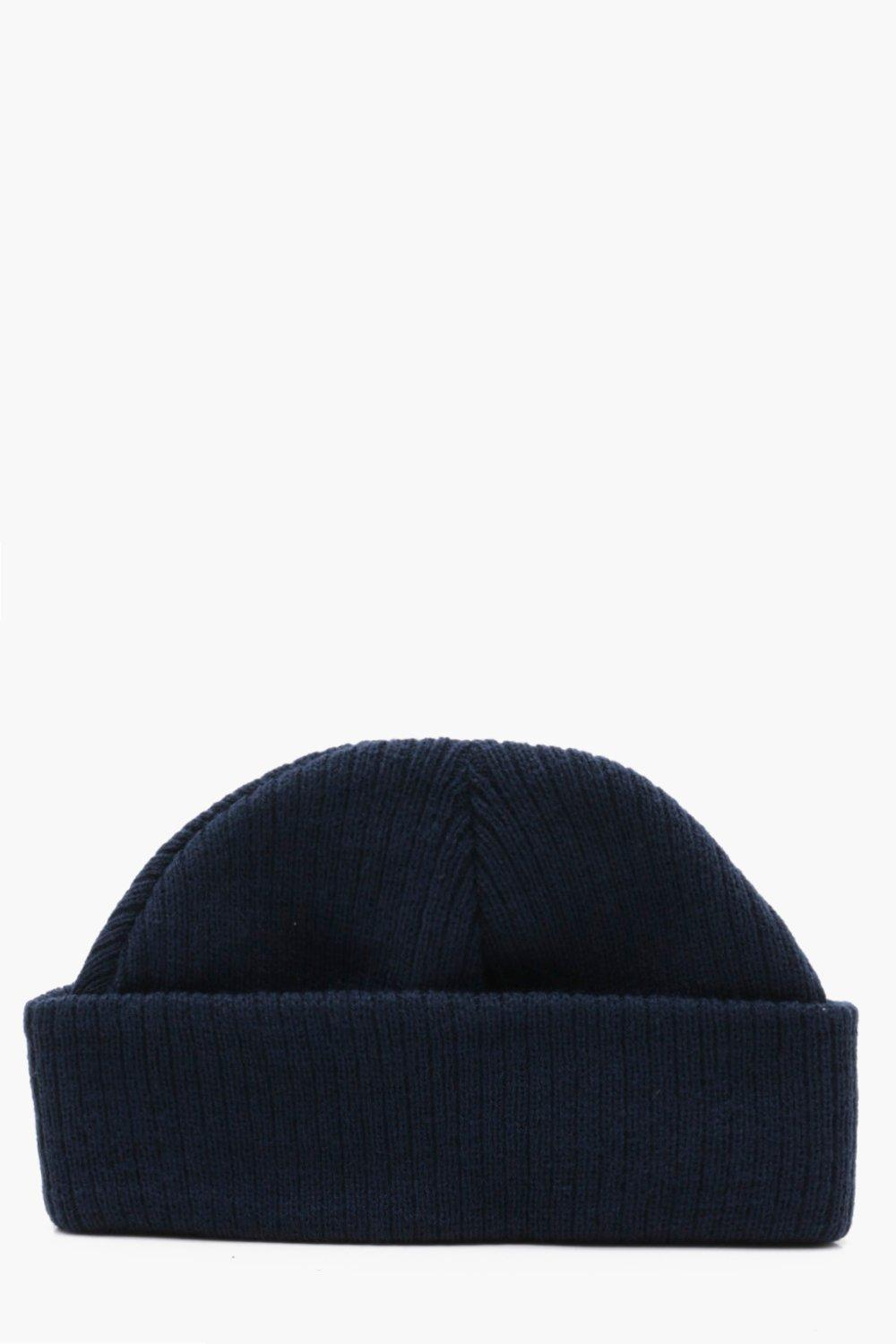 b18df254128 Lyst - Boohoo Ribbed Knit Short Fit Beanie With Turn Up in Blue for Men