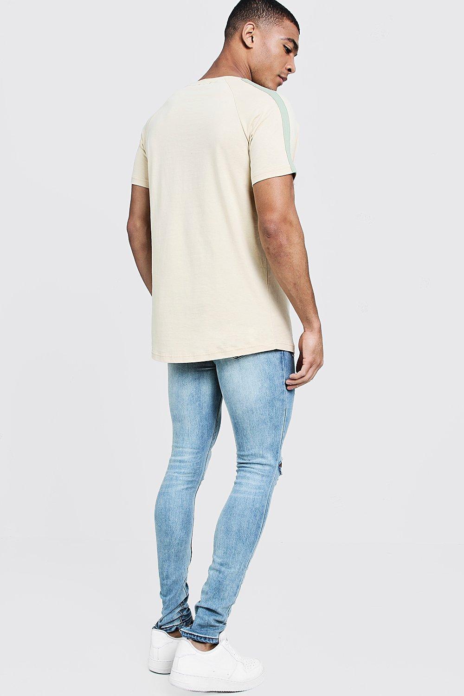 0cf3cf32 BoohooMAN - Natural Longline Man Signature Curve Hem T-shirt for Men - Lyst.  View fullscreen