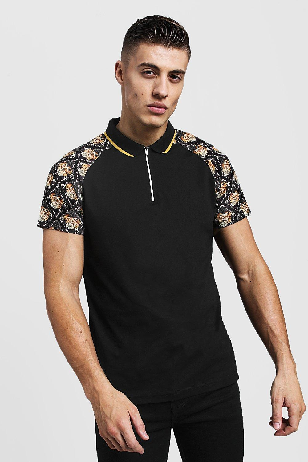d4a9f42af BoohooMAN Baroque Sleeve Print Polo With Zip Placket in Black for ...