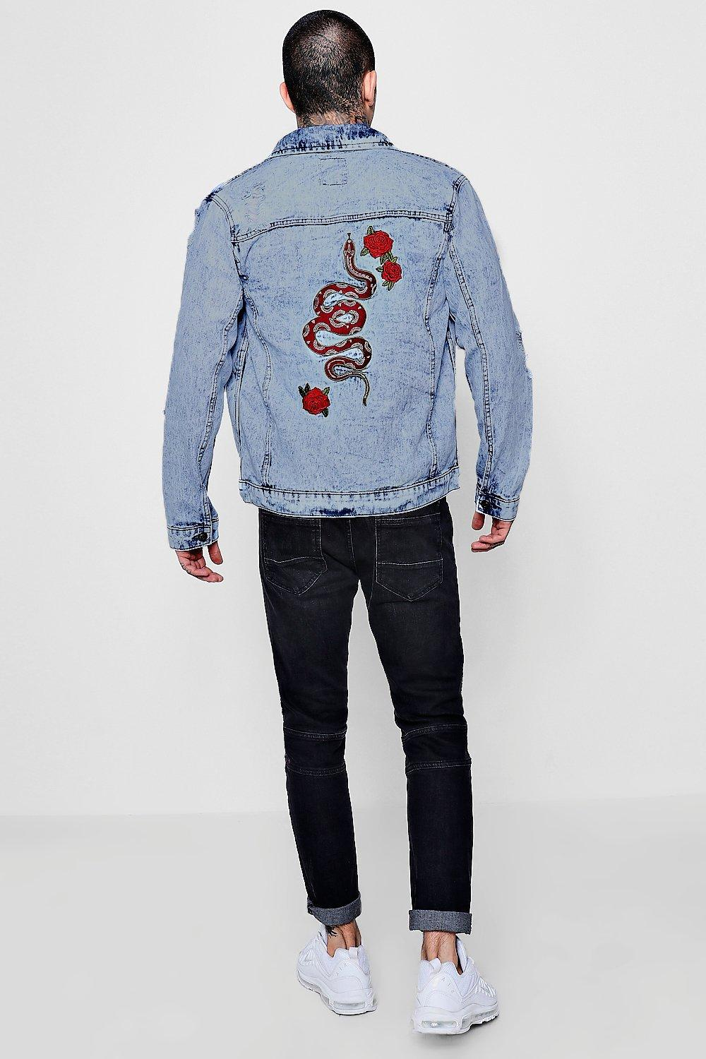 Boohoo Denim Distressed Acid Wash Jacket With Embroidery in Blue for Men