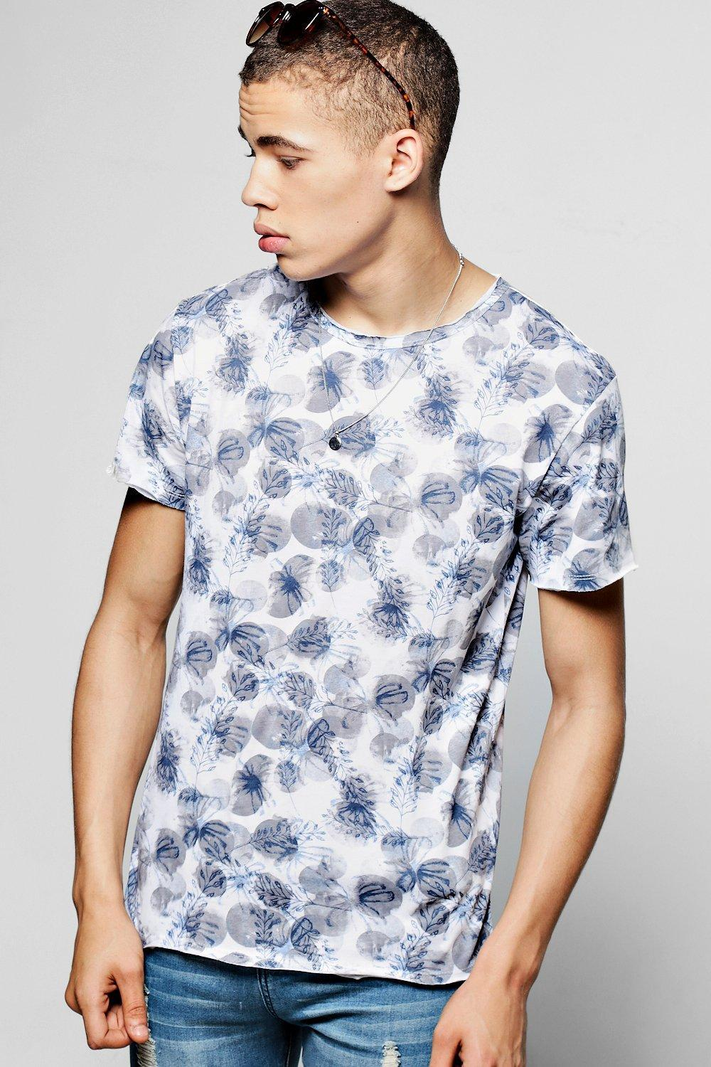 0e29f18da4e Boohoo All Over Floral And Leaf Print T-shirt in Blue for Men - Lyst