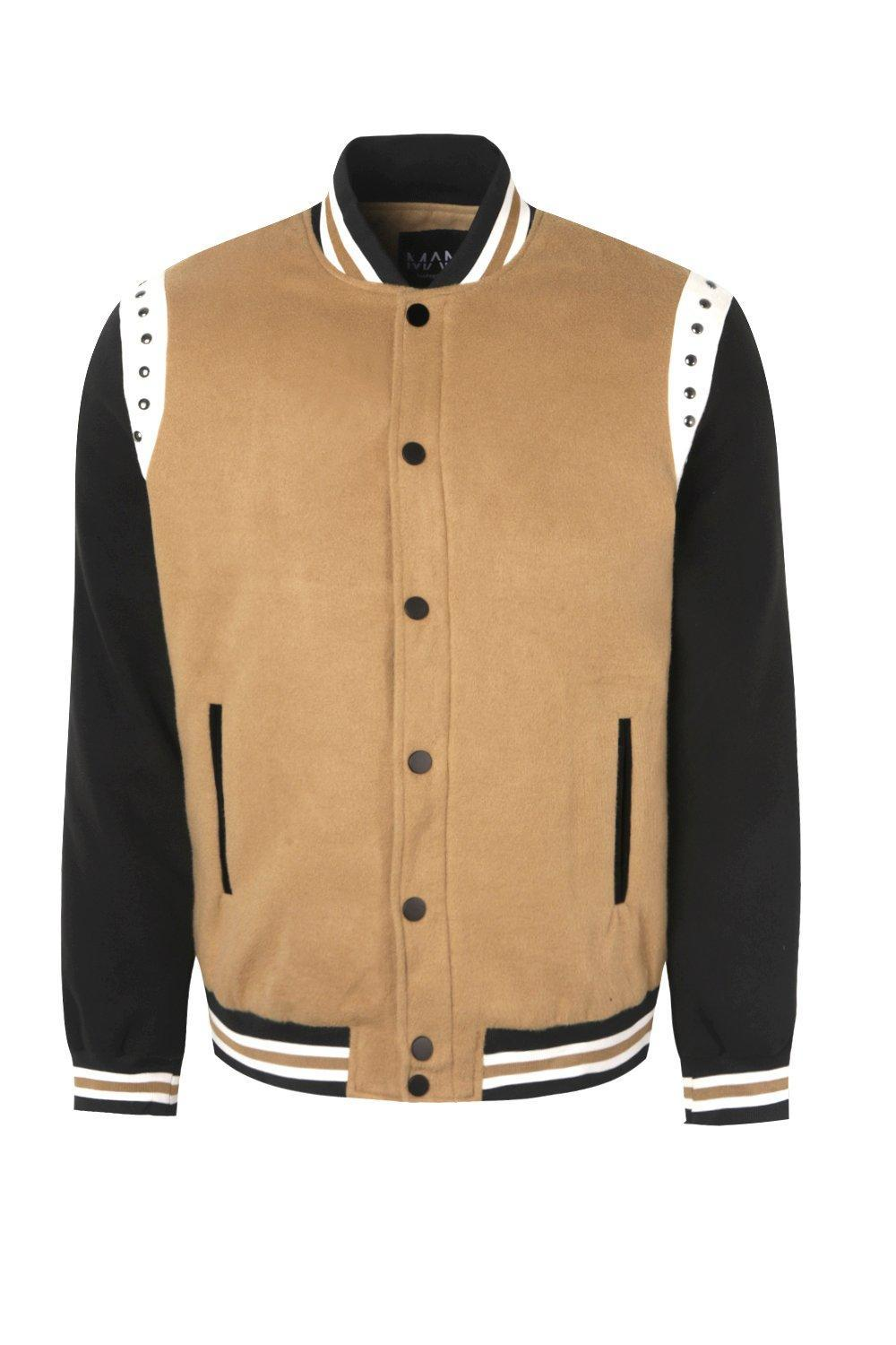 BoohooMAN Stud Detailing Wool Look Bomber Jacket in Tan (Brown) for Men