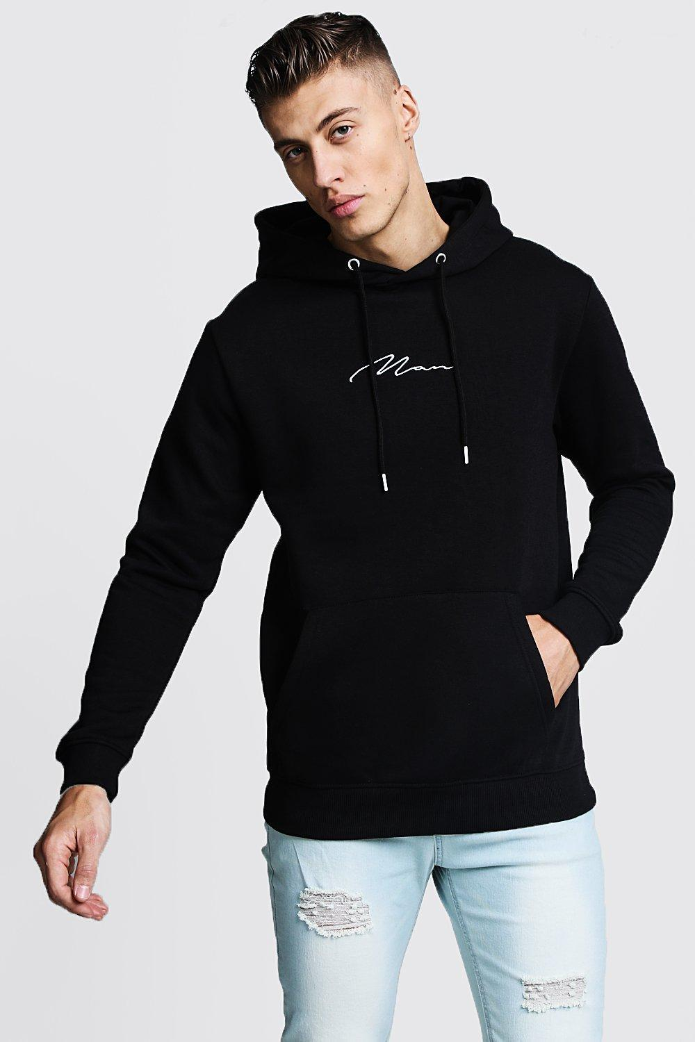 c29c476bf1 Boohoo - Black Man Signature Embroidered Hoodie for Men - Lyst. View  fullscreen