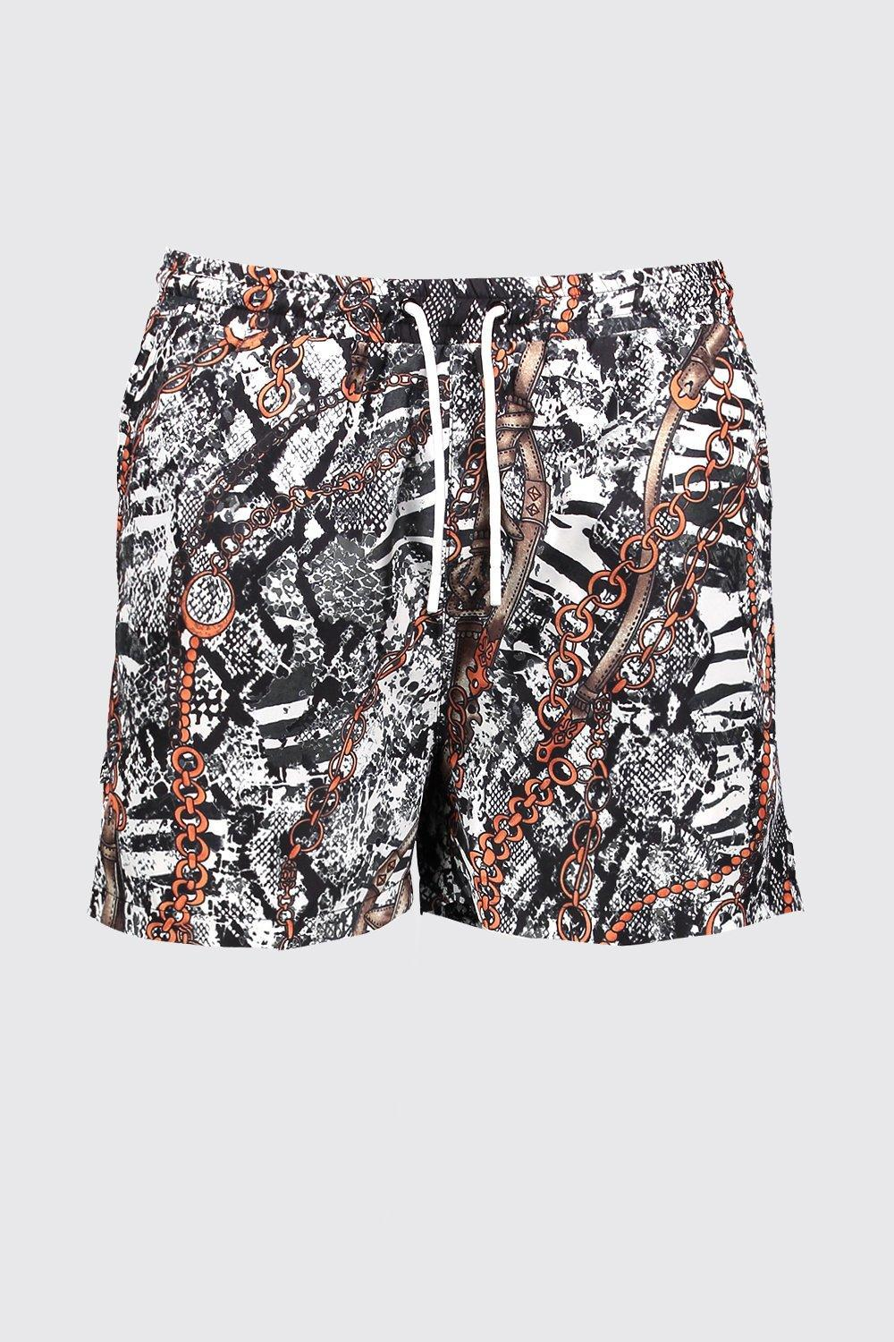 240be4f62 Lyst - BoohooMAN Snake Chain Print Swim Shorts in White for Men