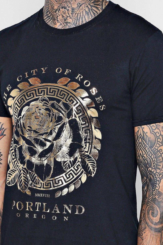 Lyst Boohoo Gold Foil Design Crew Neck T Shirt In Black For Men