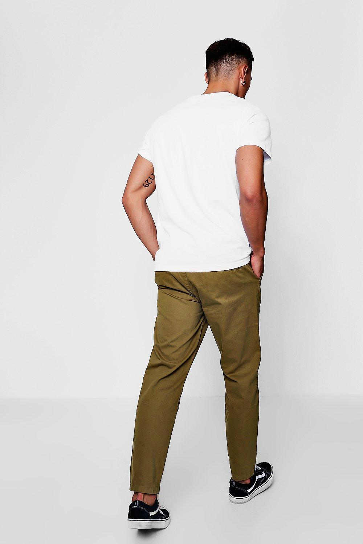Boohoo Denim Khaki Jogger Style Chino Trouser in Natural for Men