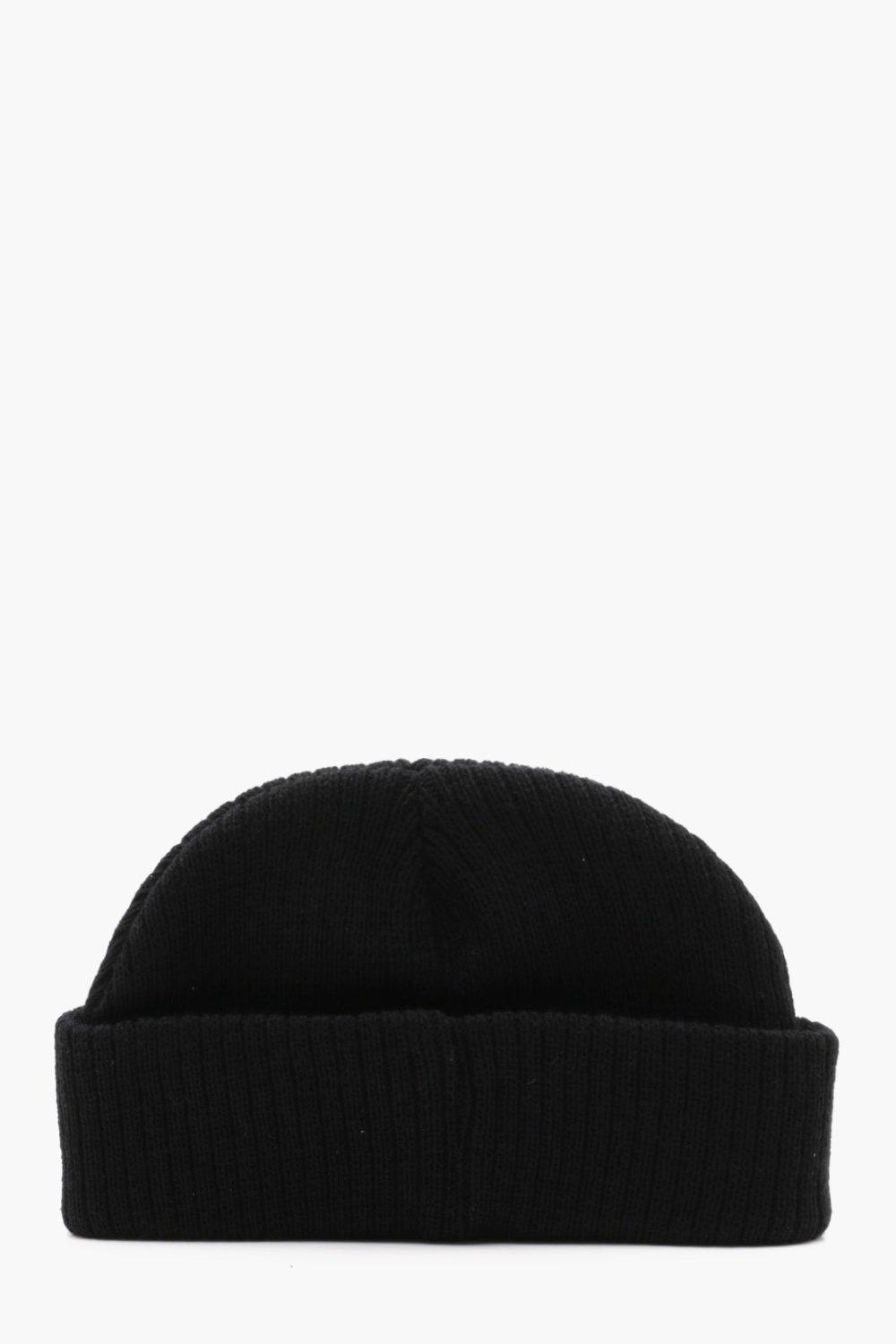 3bdd999ecfc Lyst - Boohoo Ribbed Knit Short Fit Beanie With Turn Up in Black for Men