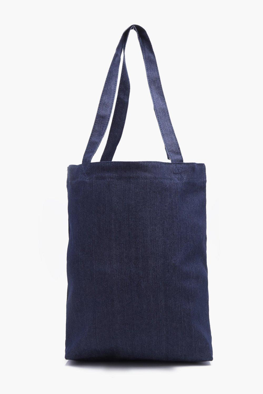 Boohoo Man Embroidered Denim Tote Bag in Navy (Blue) for Men
