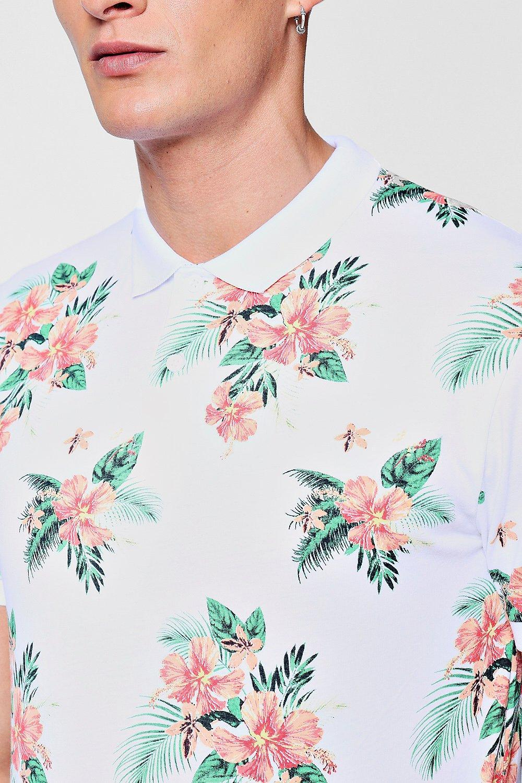 dadf29b5 Boohoo Hawaiian Print Polo T-shirt in White for Men - Lyst