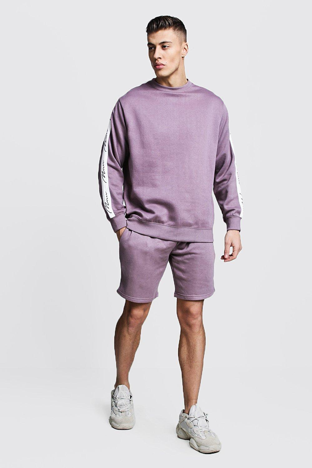 8e1c82a65c8d7 BoohooMAN Man Signature Tape Sweater Short Tracksuit in Purple for ...