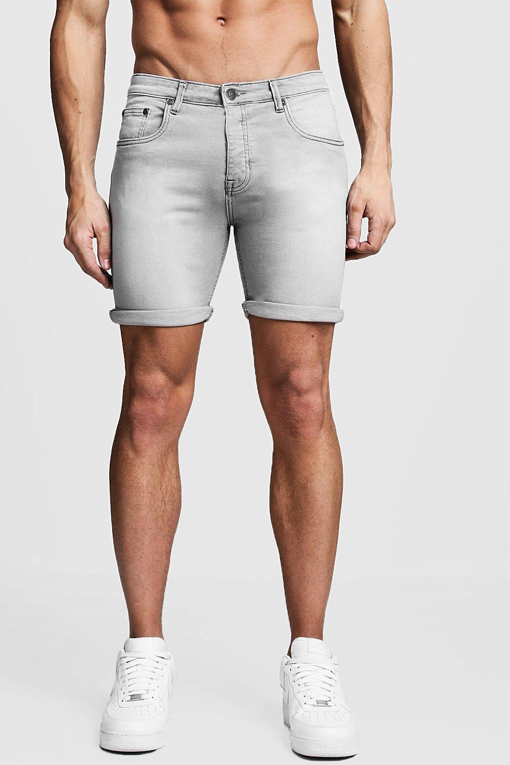 5f8d45f55fce16 BoohooMAN Graue Stretch Skinny-fit Jeansshorts in Gray for Men - Lyst