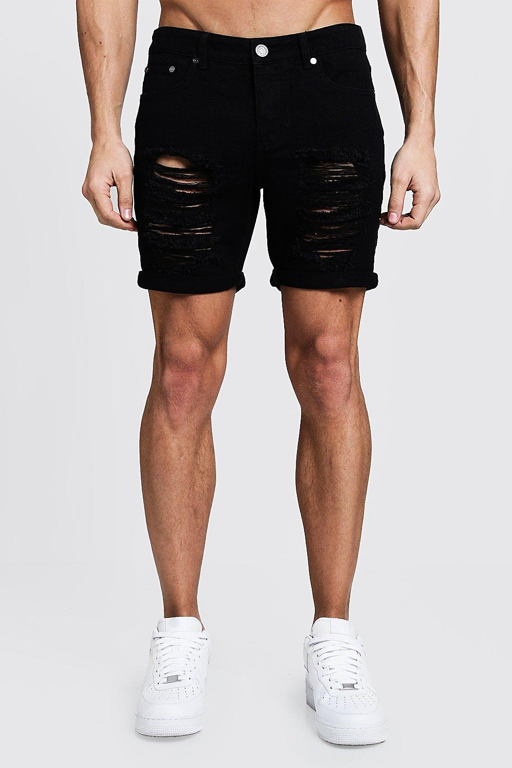 8daacbe4d9176 Lyst - BoohooMAN Slim Fit Distressed Denim Shorts in Black for Men