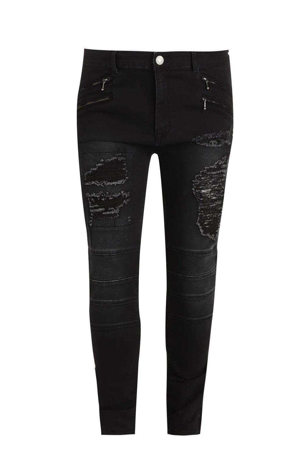Boohoo Denim Big And Tall Skinny Fit Panelled Ripped Jeans in Black for Men