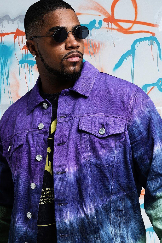 4a46261580e BoohooMAN - Purple Big   Tall Quavo Tie Dye Denim Jacket for Men - Lyst.  View fullscreen