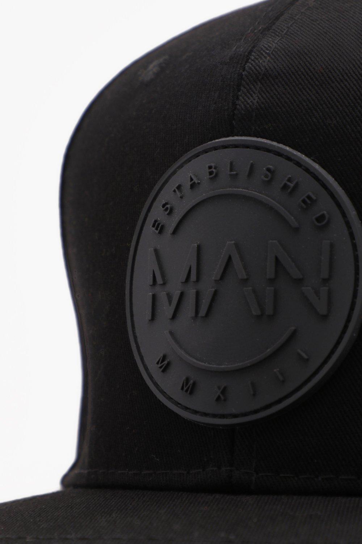 973c32585f1 BoohooMAN Flat Peak Rubber Man Patch Cap in Black for Men - Lyst