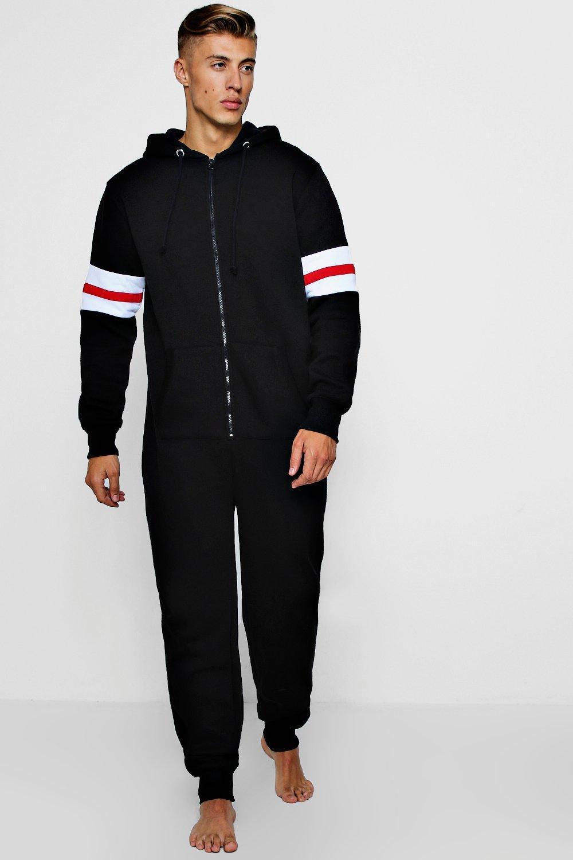 eeecdd6c988 Boohoo Hooded Onesie With Sport Stripe Sleeves in Black for Men - Lyst