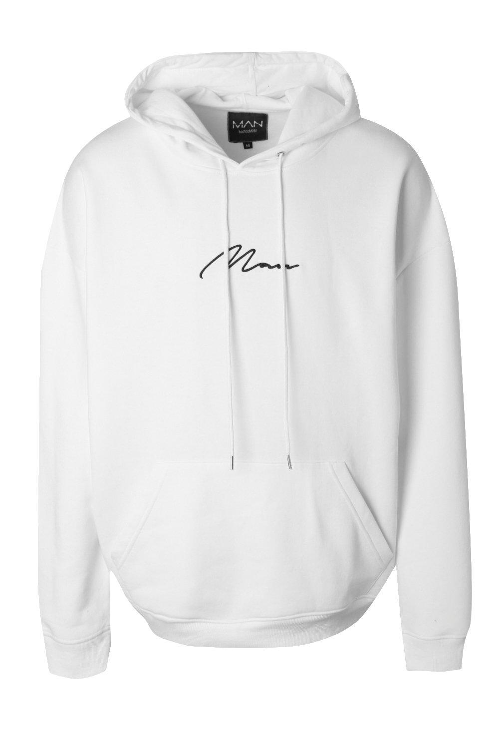 Lyst - Boohoo Oversized Man Signature Hoodie in White for Men - Save 40% f4db995a64