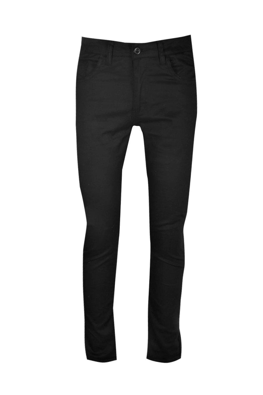 Boohoo Denim Skinny Stretch Chino Trouser in Black for Men