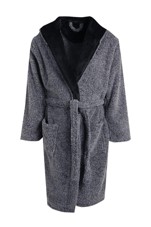 3791a8573f35 Boohoo Hooded Fleece Robe In Marl in Black for Men - Lyst