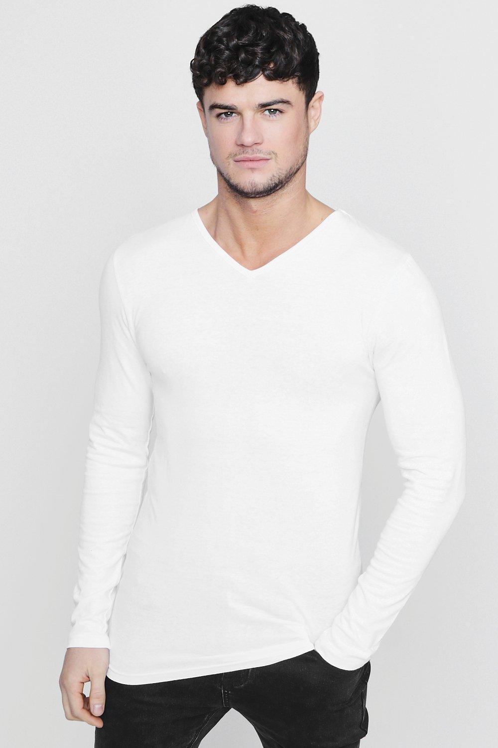 Boohoo long sleeve v neck t shirt in muscle fit in white for Long white v neck t shirt