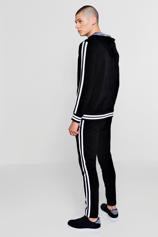 e40fca770cd Boohoo - Black Sports Stripe Velour Detail Hooded Tracksuit for Men - Lyst.  View fullscreen