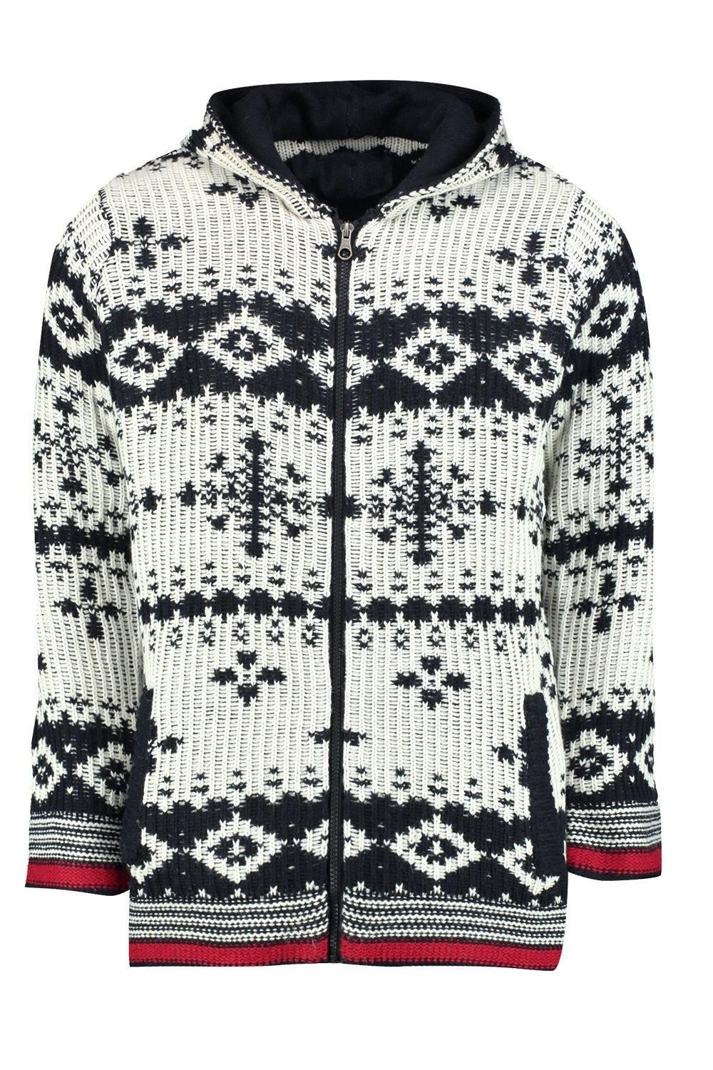 Boohoo Synthetic Chunky Knitted Snowflake Hooded Jacket for Men