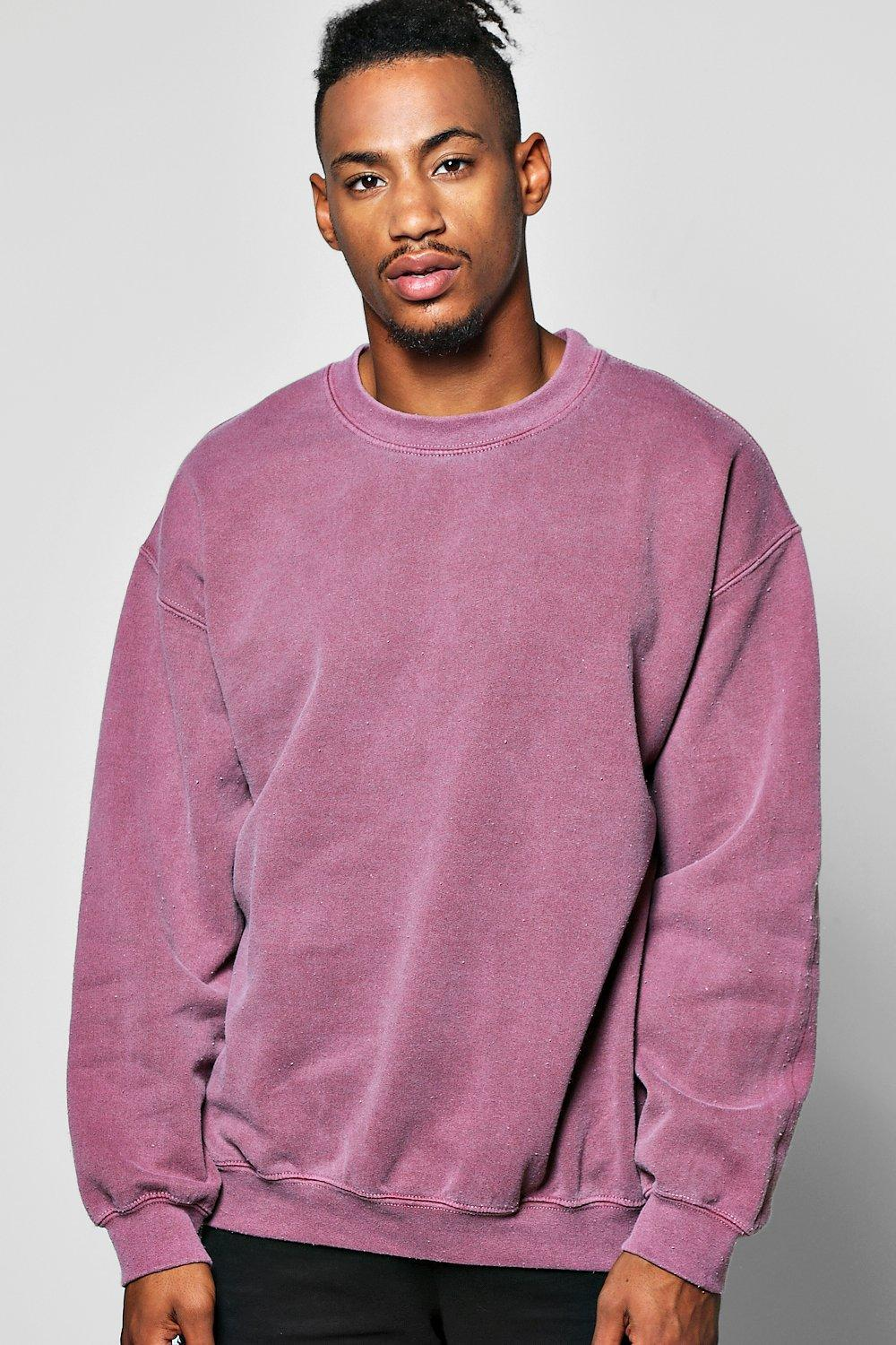 Boohoo Oversized Washed Sweater in Purple for Men | Lyst