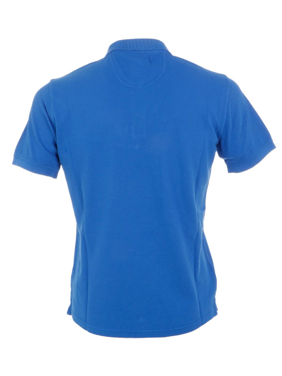 Jaggy Cotton Polo in Blue for Men