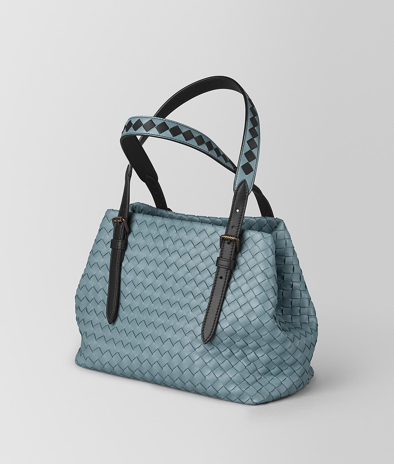 dca4c2ec1fed Lyst - Bottega Veneta Mini Cesta Bag In Intrecciato Nappa in Blue