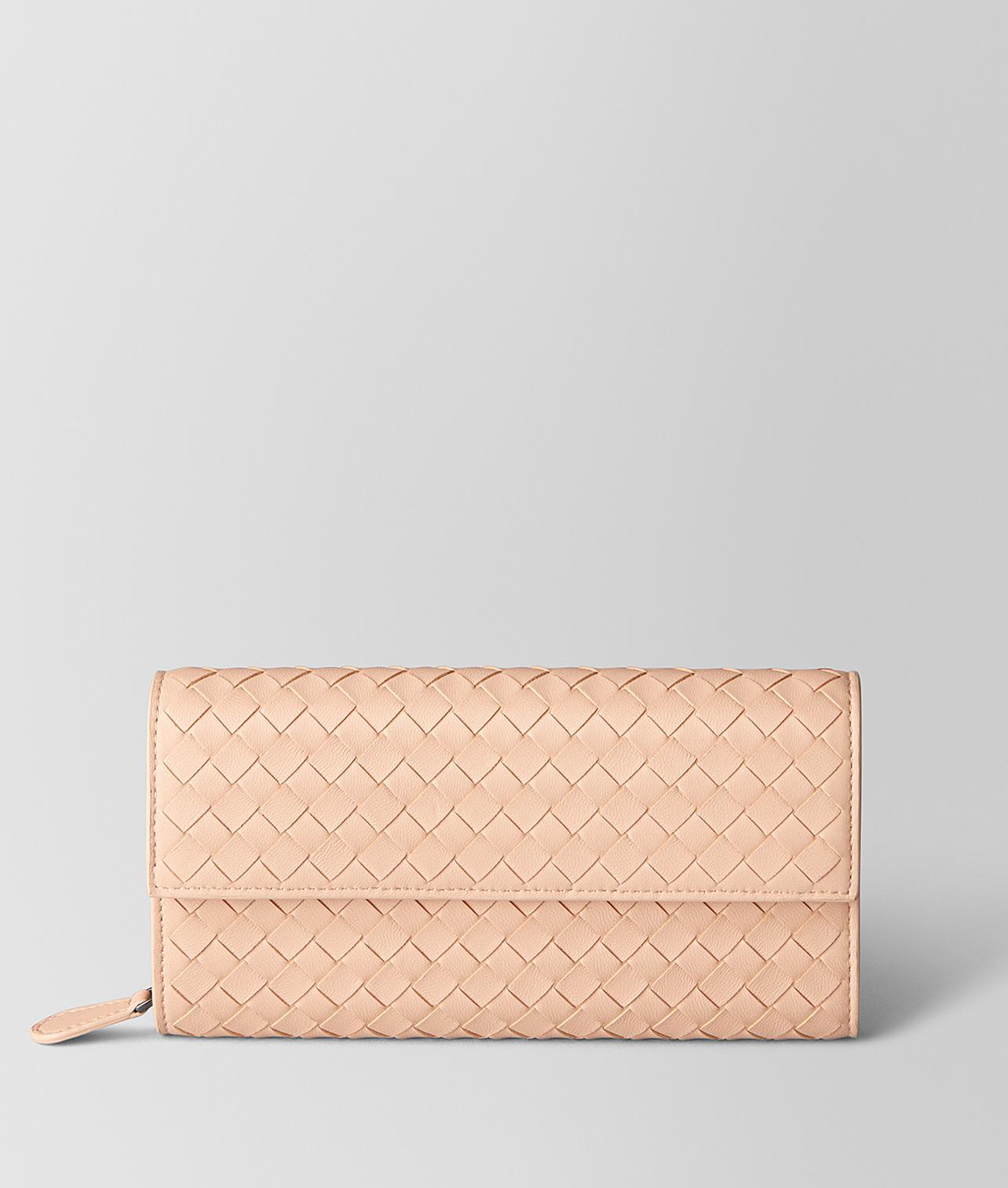 54f400de4502 Bottega Veneta Peach Rose Intrecciato Nappa Continental Wallet in ...