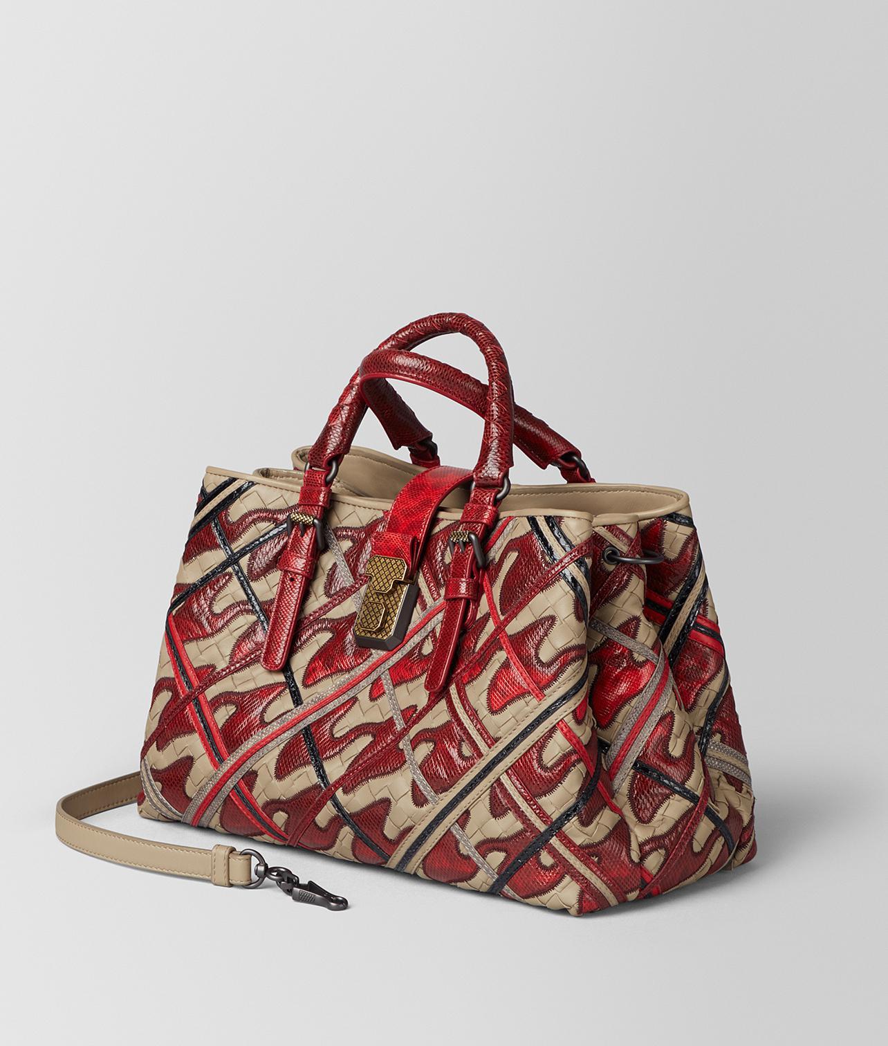 2671336c59d5 Lyst - Bottega Veneta China Red Intrecciato Pied De Poule Roma Bag ...
