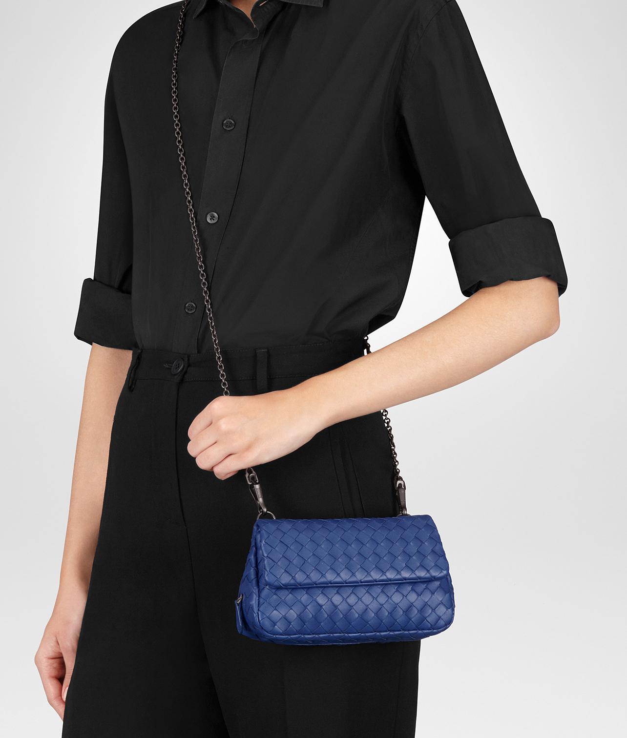 72386603748c Lyst - Bottega Veneta Cobalt Intrecciato Nappa Mini Messenger Bag in ...