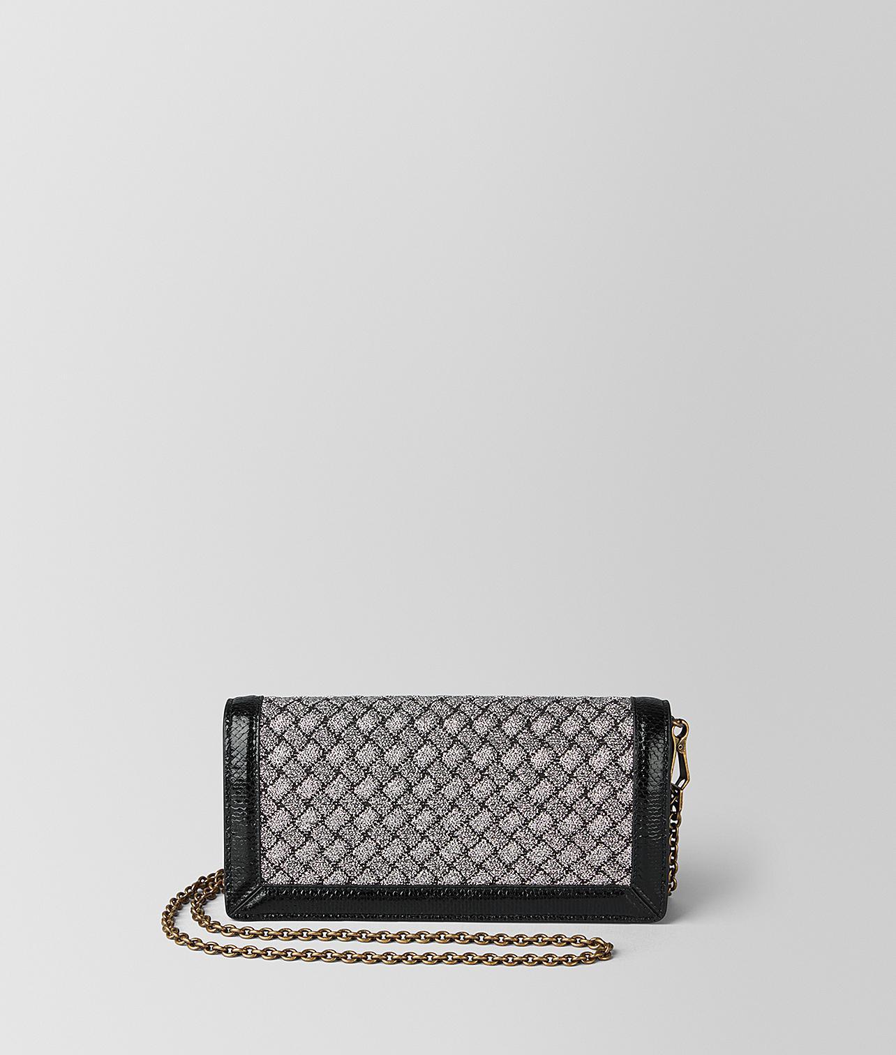 585760e77dcd Bottega Veneta Antique Silver Intrecciato Knitted Chain Wallet in ...