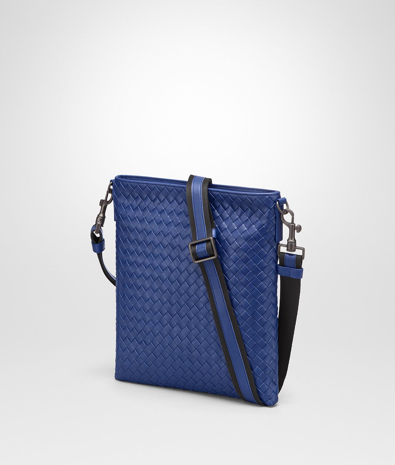 7d0db6e810 Bottega Veneta Cobalt Blue Intrecciato Small Messenger Bag in Blue ...