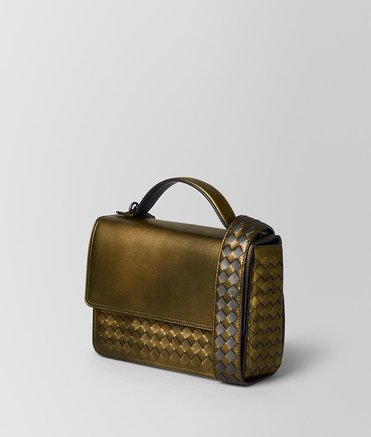 Lyst - Bottega Veneta Dark Gold Intrecciato Nappa Alumna Bag in Metallic eeca537742583