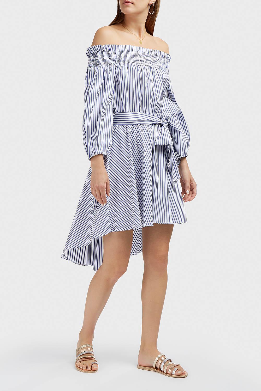 457e6de9c9e31 Lyst - Caroline Constas Lou Striped Cotton-piqué Dress in Blue