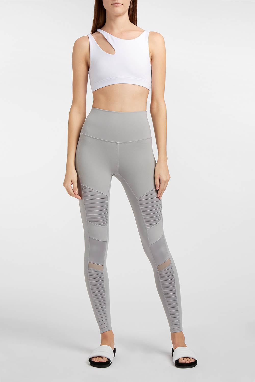 db3bc4141a6a87 Alo Yoga High-waist Moto Stretch Leggings in Gray - Lyst