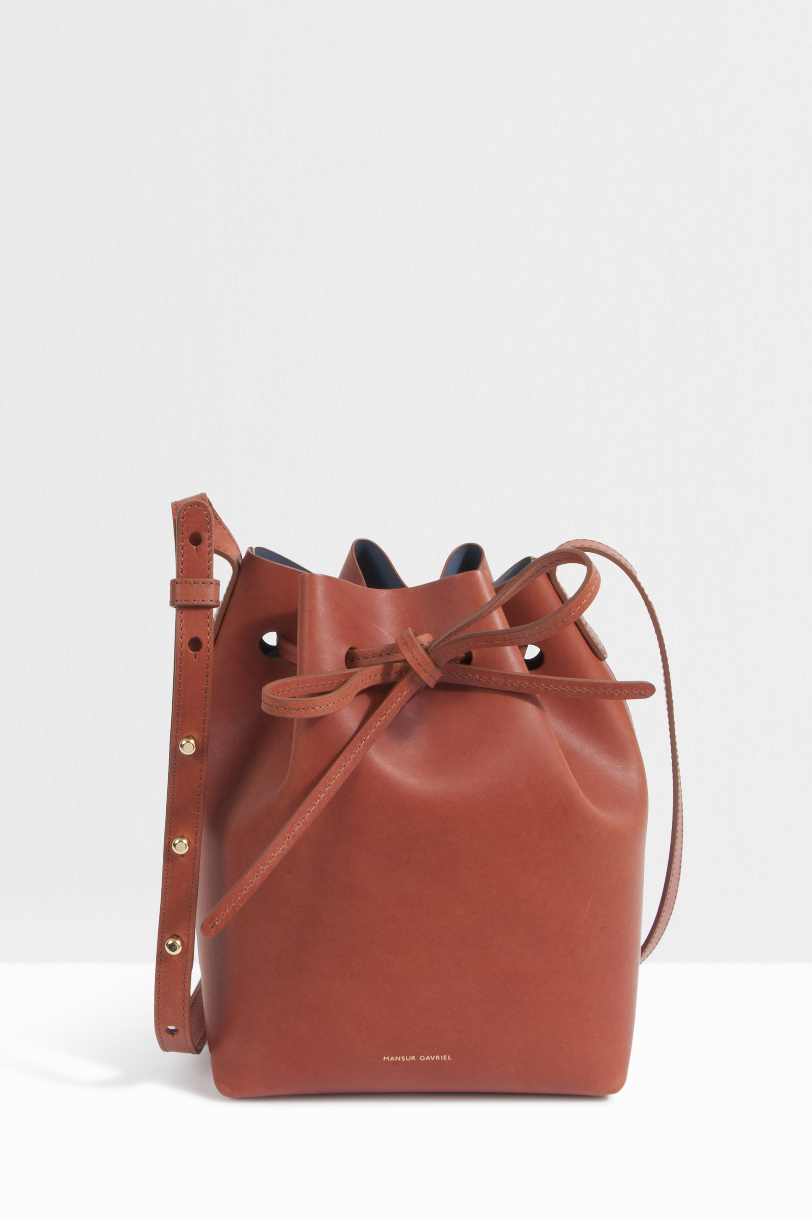 mansur gavriel mini leather bucket bag in brown lyst. Black Bedroom Furniture Sets. Home Design Ideas