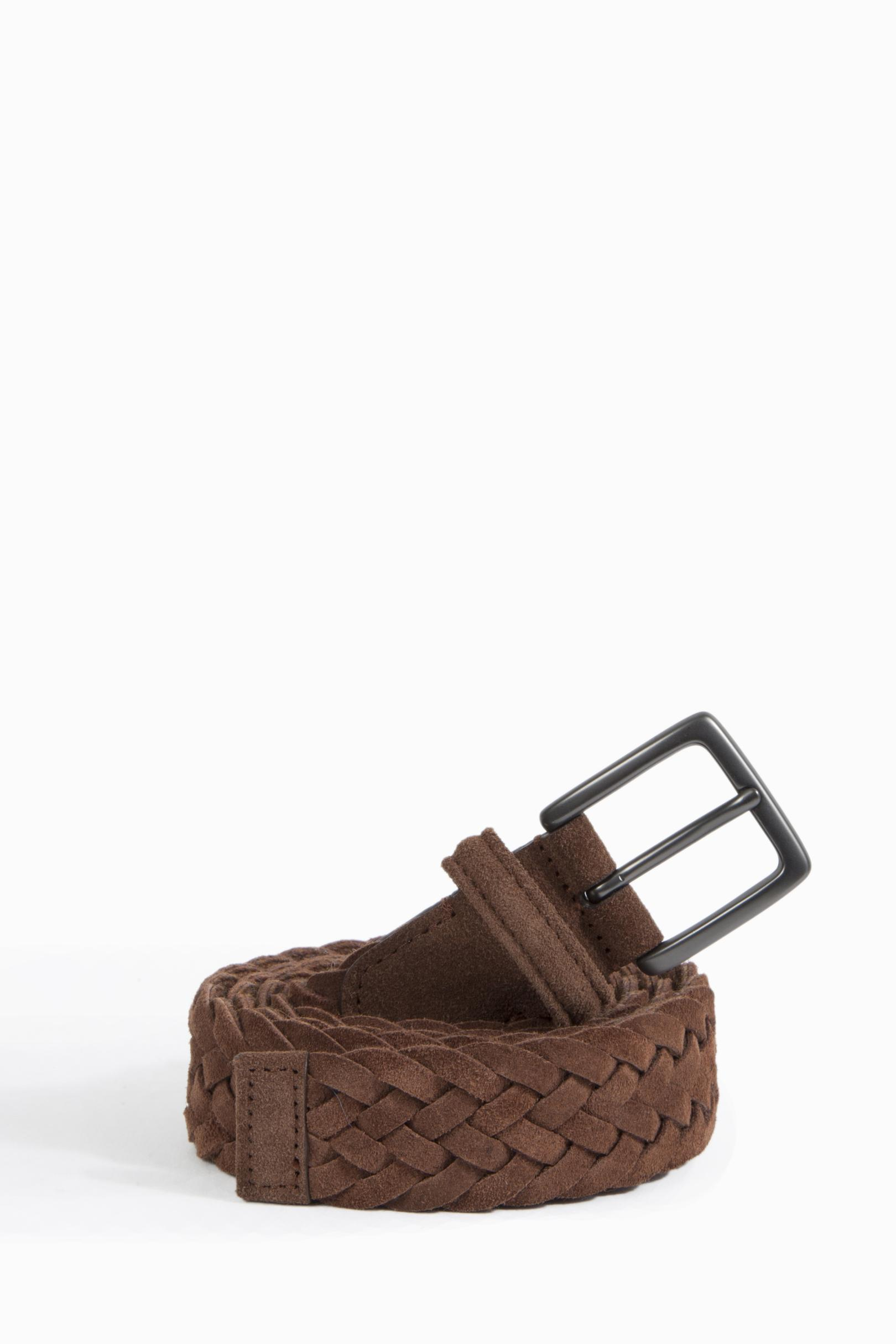 andersons leather woven belt in brown lyst