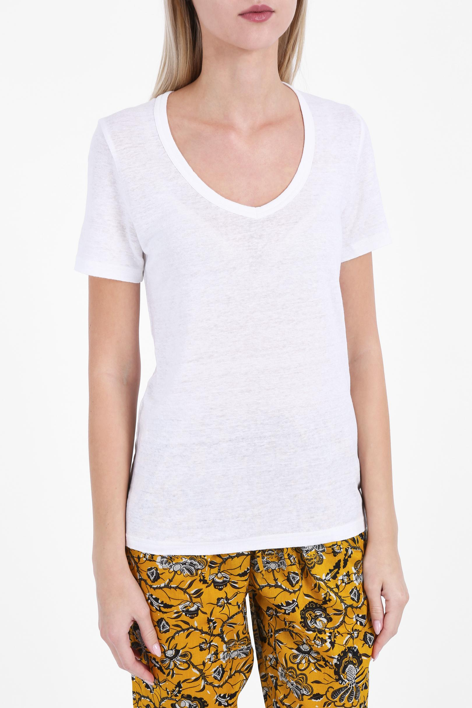 Toile isabel marant kid scoop neck t shirt in white lyst for Isabel marant t shirt sale