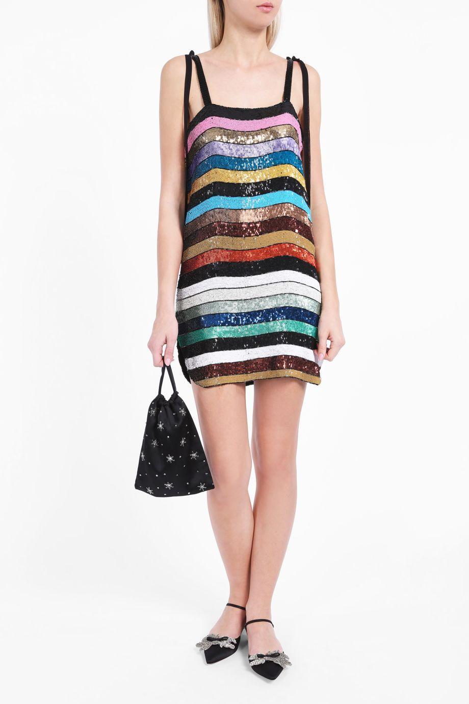 Lyst Attico Sabrina Stripe Dress In Blue
