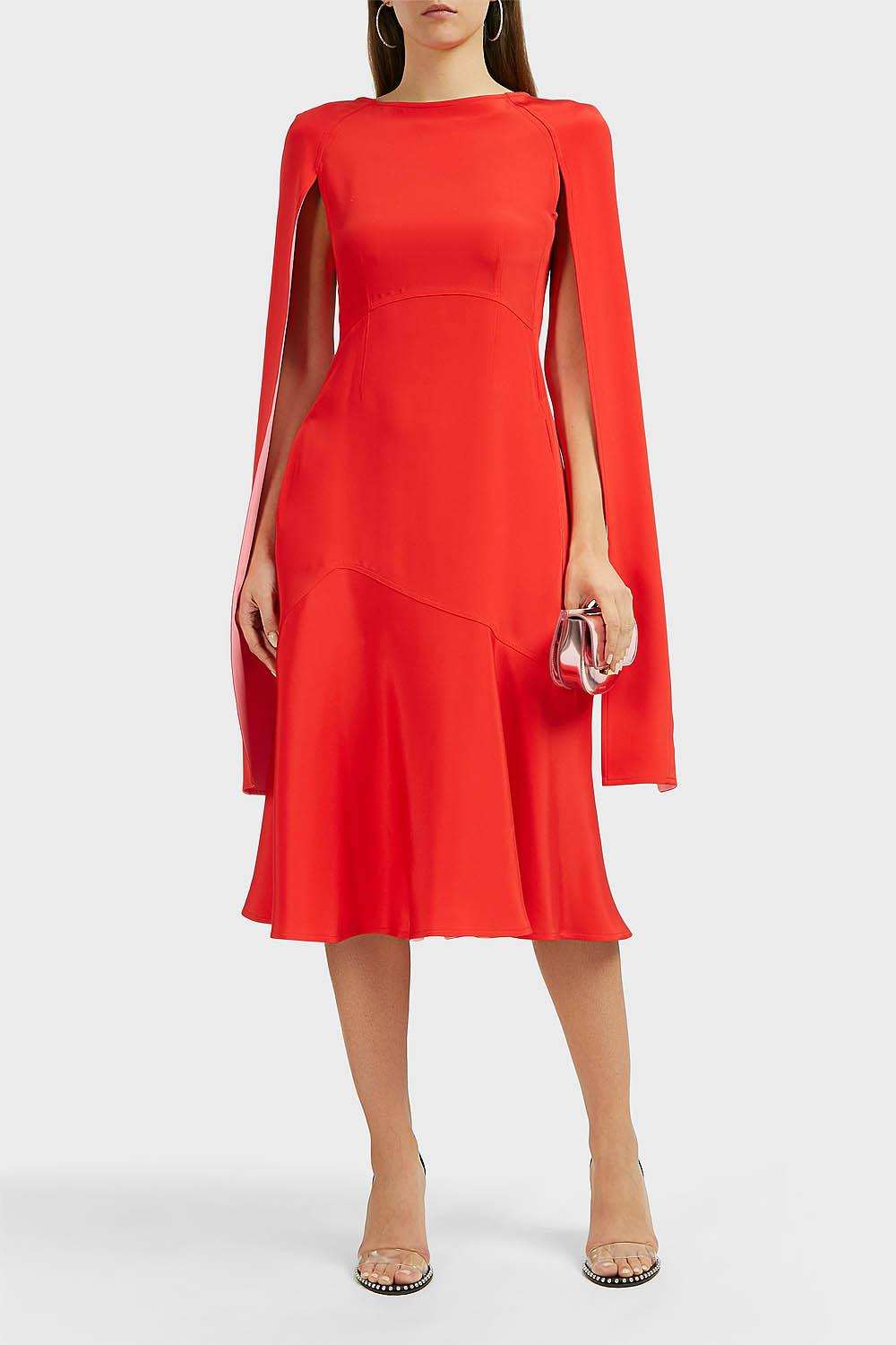 15d69178ad Lyst - CALVIN KLEIN 205W39NYC Cape-sleeve Silk-cady Dress in Red