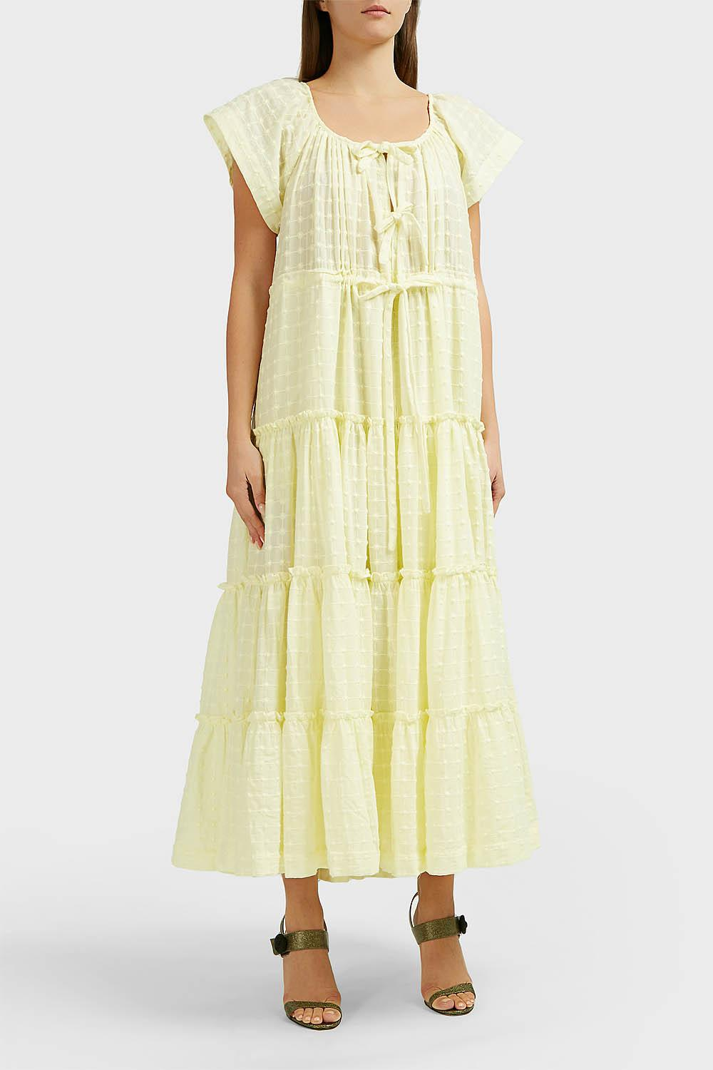 089230c306b Lyst - Innika Choo Alotta Gud Cotton Midi Dress in Yellow - Save 1%