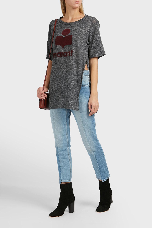 Lyst Toile Isabel Marant Kuta Logo Linen T Shirt In Gray